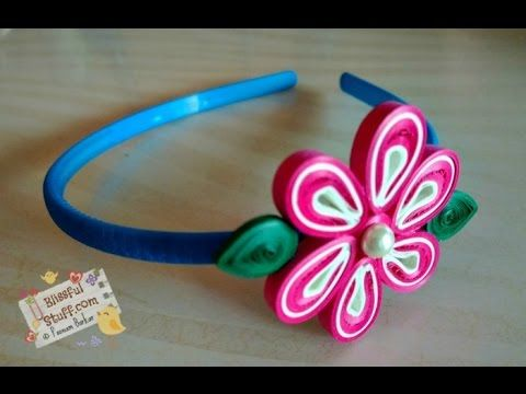 DIY - Paper quilled hair band, Easy paper quilling flower tutorial - YouTube