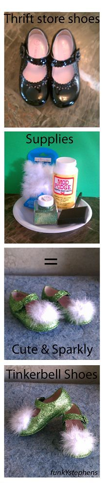 Easy DIY Tinkerbell shoes...could do this with any color glitter to go with any costume! Or to fix up old worn shoes