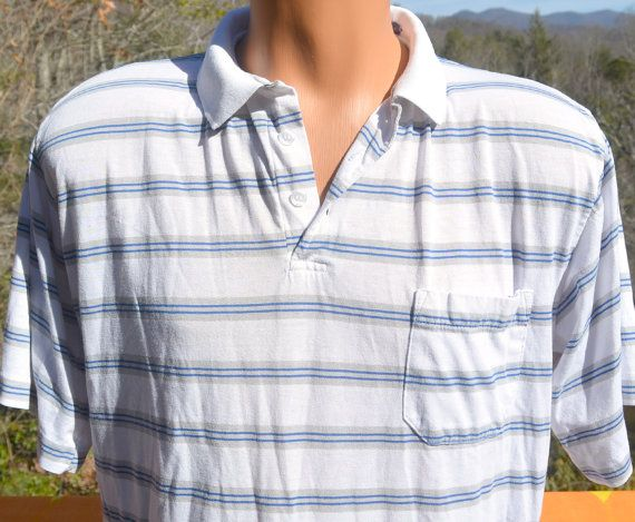 vintage 80s golf polo shirt STRIPES white blue Large by skippyhaha, $18.00