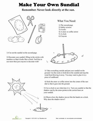 make your own sundial education science worksheets second grade science science classroom. Black Bedroom Furniture Sets. Home Design Ideas
