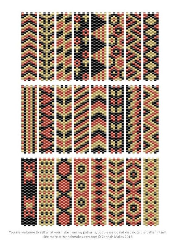 Carrier Bead Patterns, Odd Count Peyote, Three-Colour Patterns, Full Word Charts, Colourway 2