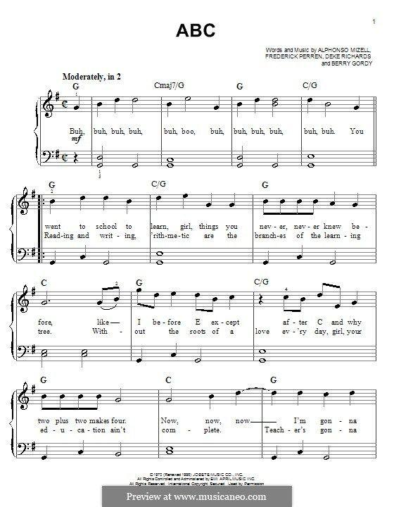 ABC (The Jackson 5): For piano by Alphonso Mizell, Berry Gordy, Deke Richards, Freddie Perren