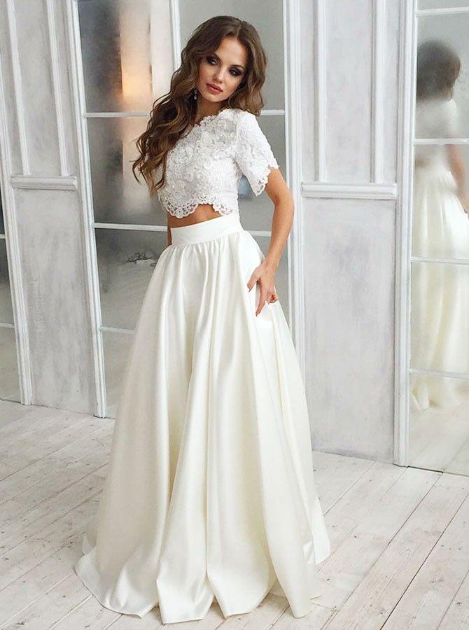 136cb7d22f1 Two Piece Round Neck Lace Top Satin Wedding Dress with Pockets. twopieceweddingdress   laceweddingdress  weddingparty  wedding  weddingdresses2019