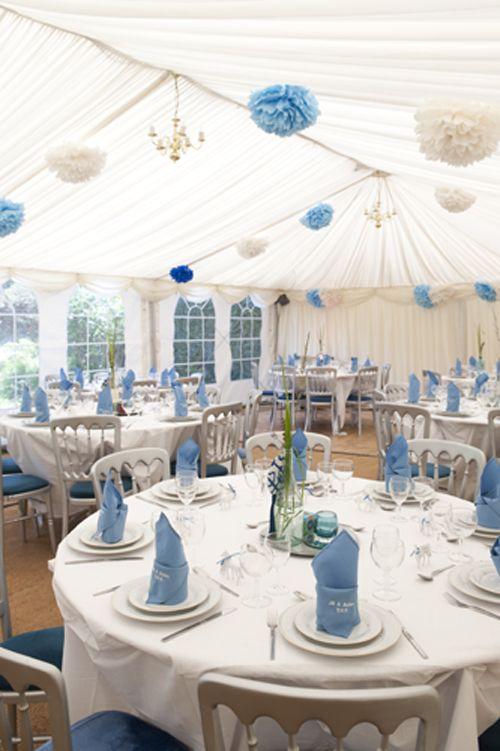 blue and white wedding decor + pom poms