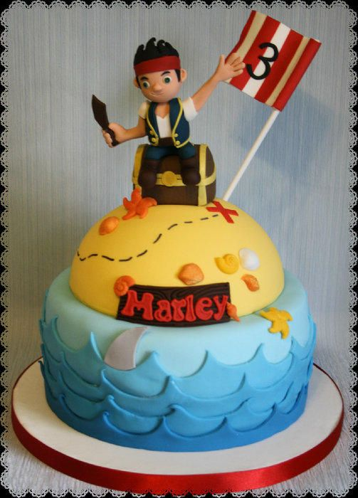 2 Tier Jake and The Neverland Pirates cake. The happy guy has found his treasure!