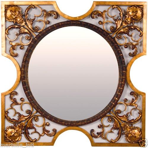 Gold Filigree Square Wall Mirror w Circle Center New Free Shipping | eBay