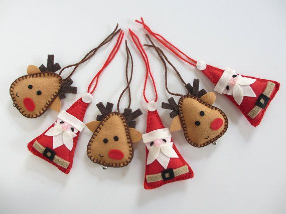 Rudolph red nosed reindeer and Santa Claus, felt Christmas decorations