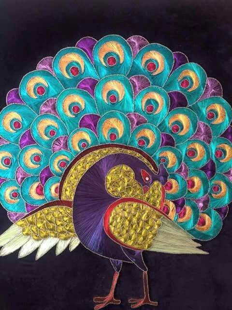 String art inspiration- look at the detail! Peacock
