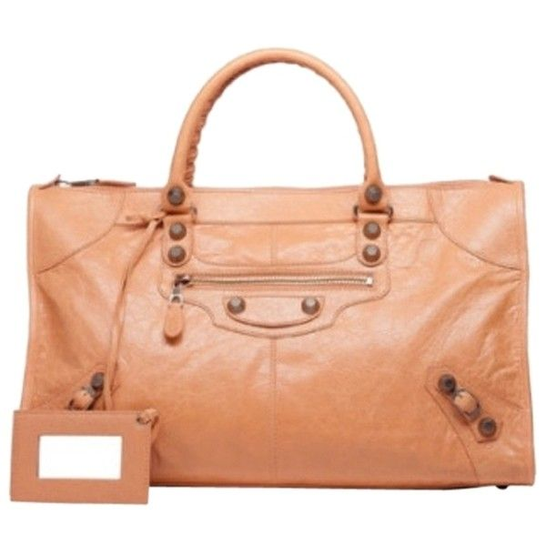 Pre-owned Balenciaga Giant 12 Rose Gold Work Rose Blush Tote Bag ($1,235) ❤ liked on Polyvore featuring bags, handbags, tote bags, rose blush, red tote, balenciaga handbags, tote purses, balenciaga purse and tote bag purse