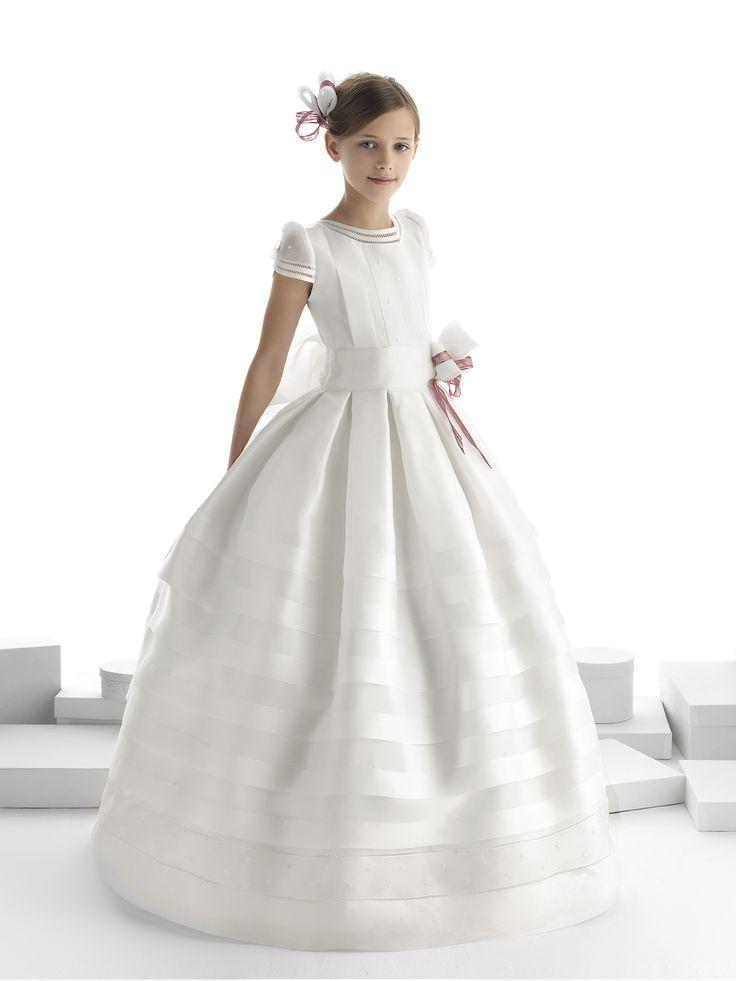 Nectarean Ball Gown Short Sleeve Bow(s) Floor-length Communion Dresses