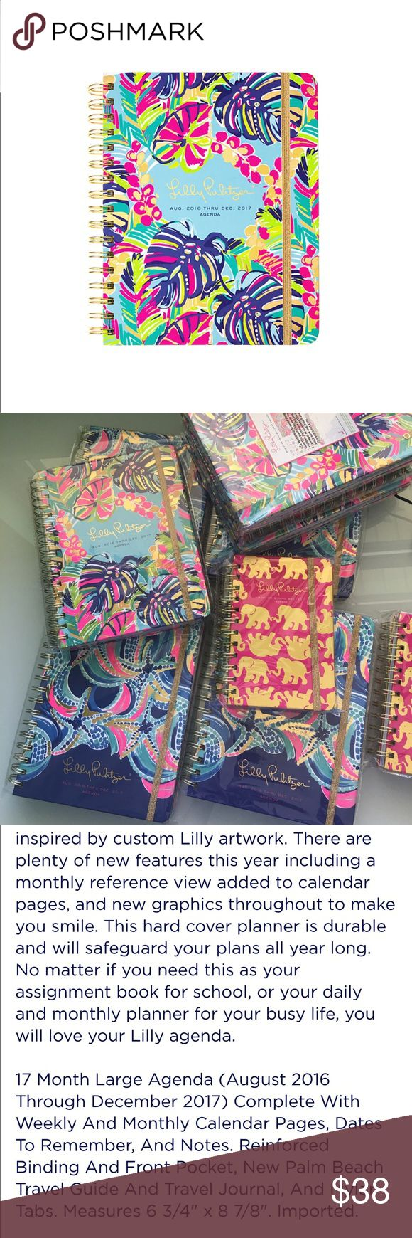 2 left! NWT Retail Large Lilly Pulitzer Agenda I am a Lilly Retailer, so I have to make my $30 minimum sale, hence the $38 price. Agendas will be on lpsdesigns .com for $32 plus shipping.  2016-2017 Agenda. No trades. One left in stock. Lilly Pulitzer Accessories