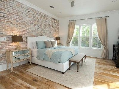 Exposed brick in bedroom for the home pinterest for Bedroom w brick wall