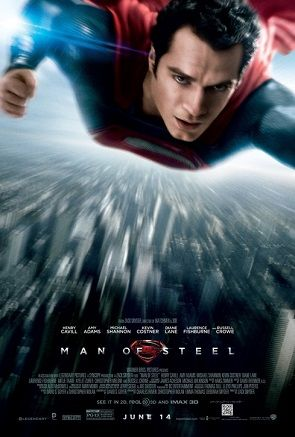 Superman, bearing his traditional red and blue costume, is shown flying towards the viewer, with the city Metropolis below. The film's title, production credits, rating and release date is written underneath.
