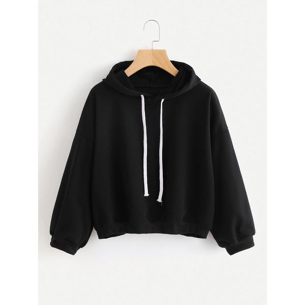 Hooded Drawstring Sweatshirt ($13) ❤ liked on Polyvore featuring tops, hoodies, sweatshirts, black, long sleeve hooded sweatshirt, sport sweatshirts, pullover hoodies, hoodie sweatshirts and sweatshirt hoodies