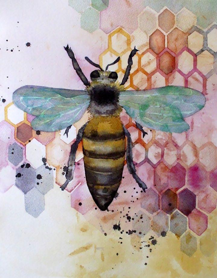 Beautiful watercolor bee