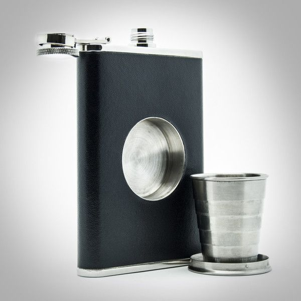 Premium 8oz Drinking Flask with Built-In Shot Glass | Shot Flask