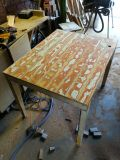 distressed timber dining table