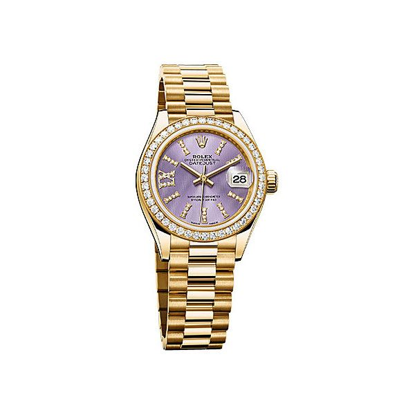 Rolex Lady-Datejust 28 Lilac Dial 18K Yellow Gold President Automatic... ($28,640) ❤ liked on Polyvore featuring jewelry, watches, diamond bezel watches, rolex crown, roman numeral watches, gold wrist watch and analog wrist watch