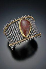 Bamboo Series BraceletSterling silver, 14k gold,Dinosaur Bone