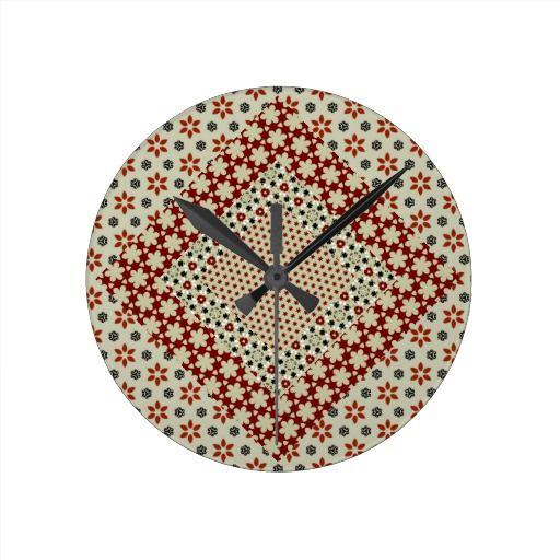 Patchwork Patterns Round Clock
