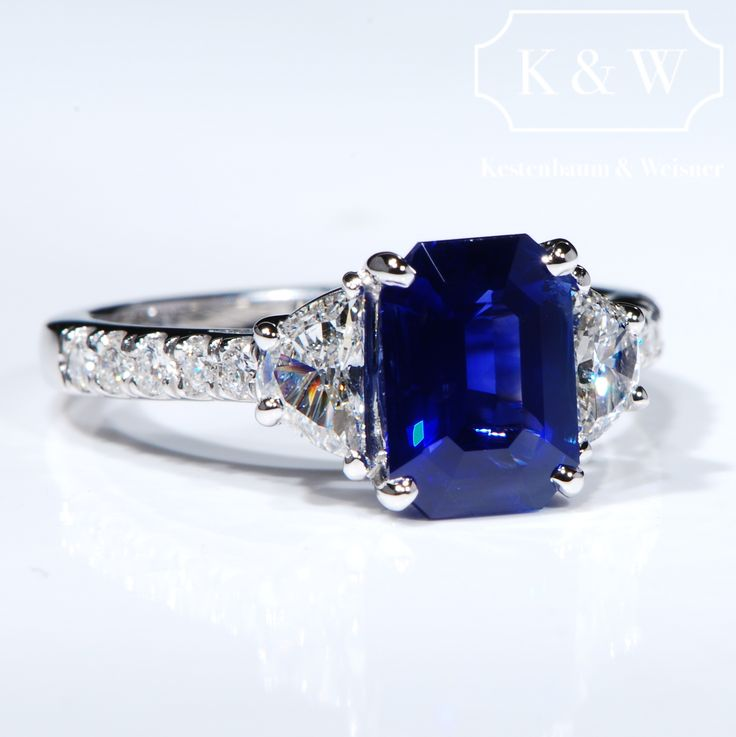 """""""Because there's nothing more beautiful than the way the ocean refuses to stop kissing the shoreline, no matter how many times it's sent away.""""  ― Sarah Kay  #SapphireRing #EngagementRings #KWDiamondsDesign"""