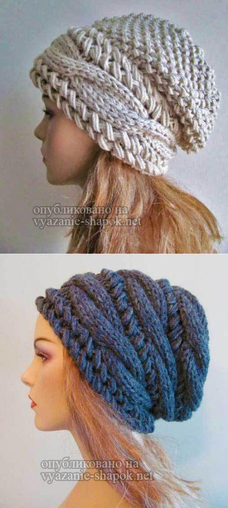 Шапка спицами с косами поперек от Вики | Вязание Шапок - Модные и Новые Модели