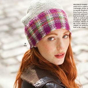 Вязание шапки Cloche with Plaid Band, модель 26, Vogue зима 2014-2015 Вязание женщинам шапки колокол. Вязание шапки платочной вязкой с широким околышем тканным узором. #вязание #спицами #шапка #вог