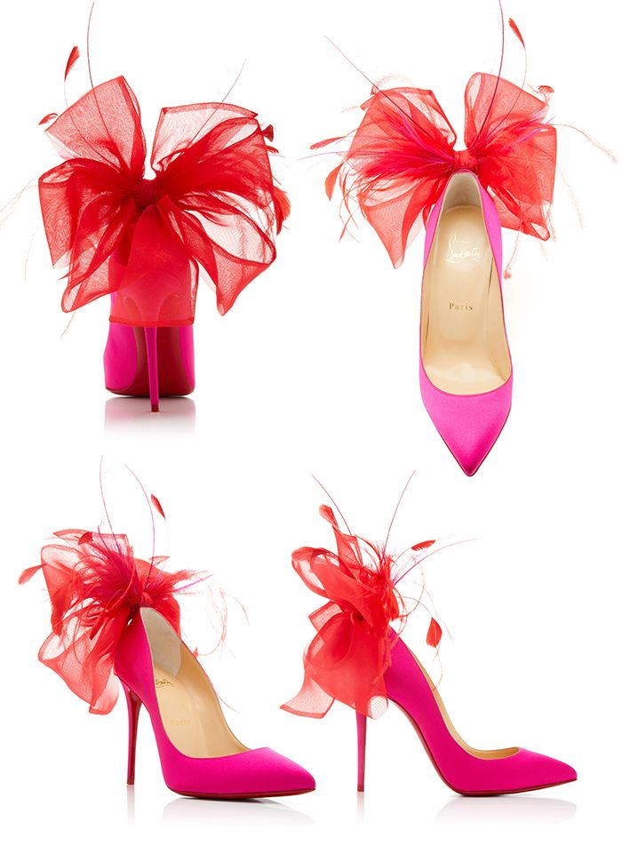 Christian Louboutin AW19 Exclusive Anemone Embellished Satin Pumps. Bright Pink … – Think Pink – How to Wear Pink
