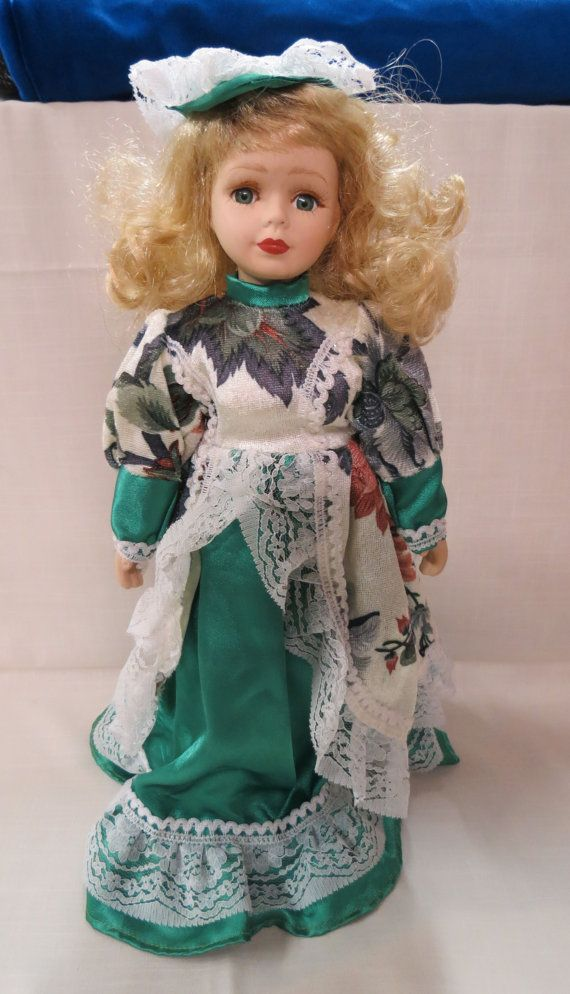 Vintage Ashley Belle Porcelain Bisque Doll With Stand Applied Eyelashes Cloth Body Hand Painted 891109