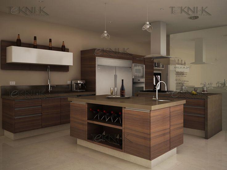 Cocina en maderas de vetas horizontales con cubierta de color ...