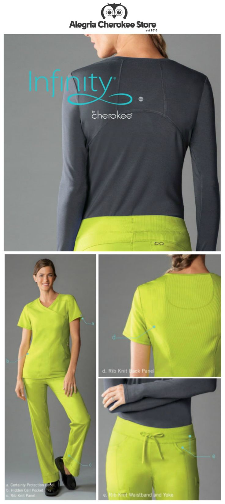 It's finally here!  The new Infinity by Cherokee collection: an athletic-inspired lifestyle collection for scrubs-wearing professionals.  Designed for fit and performance, Infinity's modern styling and innovative designs offer fit-to-flatter detailing.  Also features Certainty fabric technology, which reduces bacteria on the uniform, providing intelligent freshness and peace of mind.   Alegria Cherokee Store