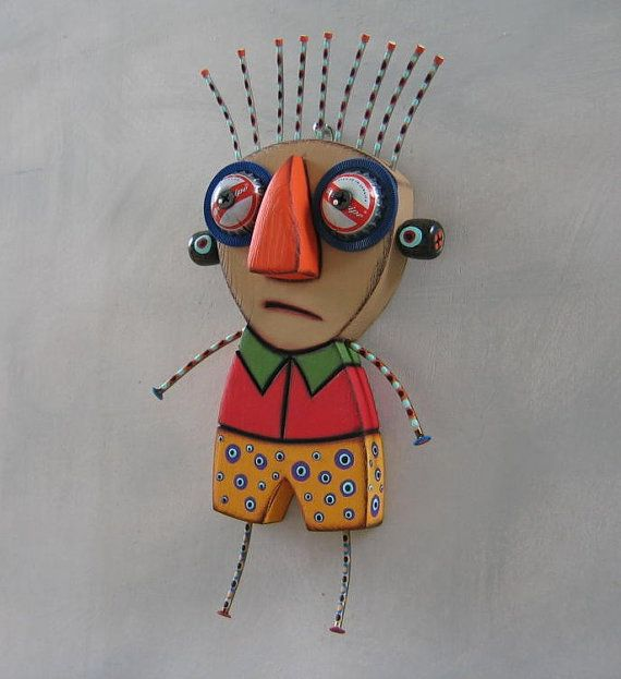 The Tourist, Original Found Object Sculpture, Wood Carving, Wall Art, by Fig Jam Studio