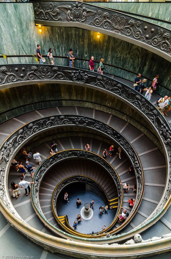 The famous double spiral staircase in the Vatican Museums.