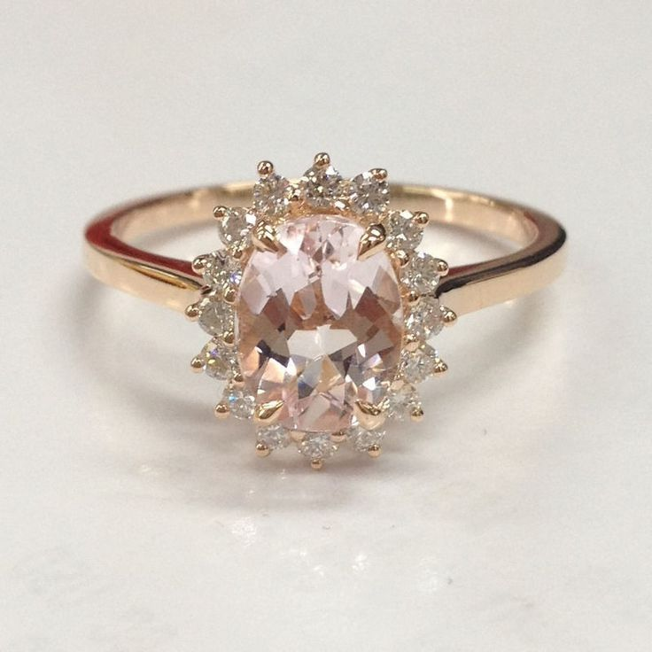 Oval Morganite Engagement Ring Diamond 14K Rose Gold 6x8mm Head Raised - Lord of Gem Rings - 1