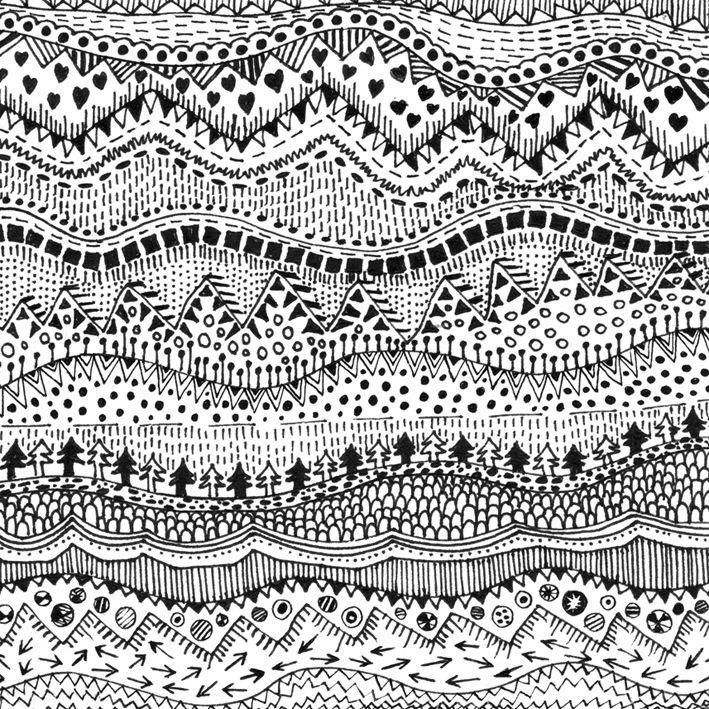 Winter landscape pattern by Kriszti Balla #winter #pattern #landscape #patterndesign #krisztiballa #surfacepatterndesign #bw