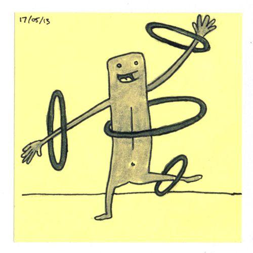 365 #daily #post-it #drawing of a wacky hula-hoop guy