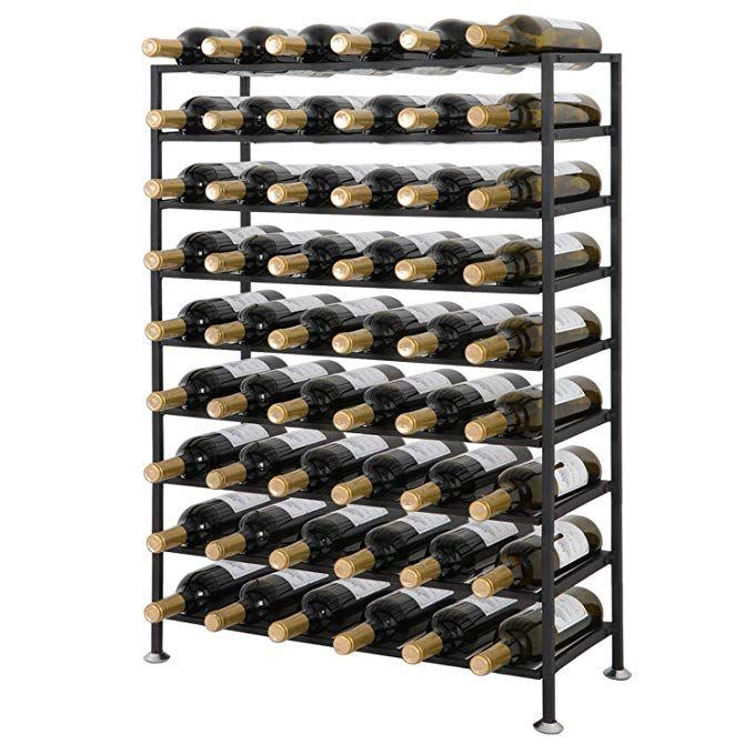 Smartxchoices 54 Bottle Black Solid Steel Wine Rack Free Standing Cellar Wine Storage Rack Organizer Shelves Kitchen Liq Wine Rack Metal Wine Rack Wine Display Metal wine racks free standing