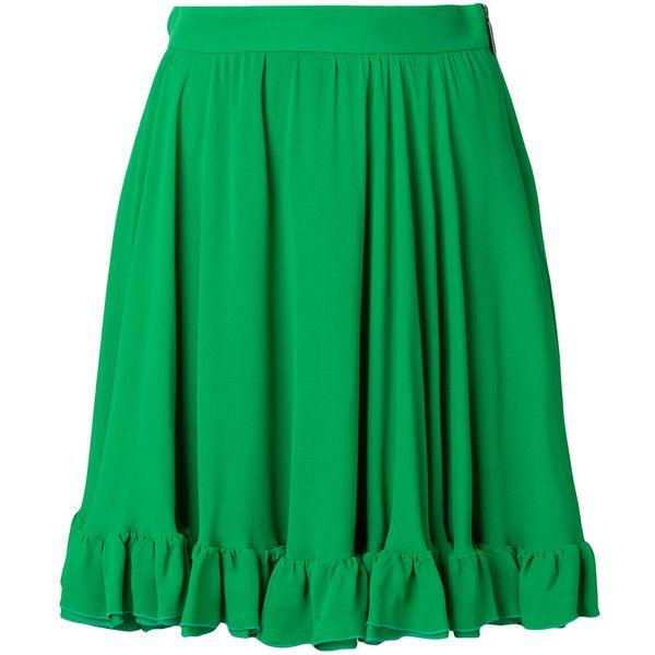 MSGM frill hem skirt ($530) ❤ liked on Polyvore featuring skirts, green, long green skirt, flounce hem skirt, ruffle hem skirt, short skirt and green maxi skirt