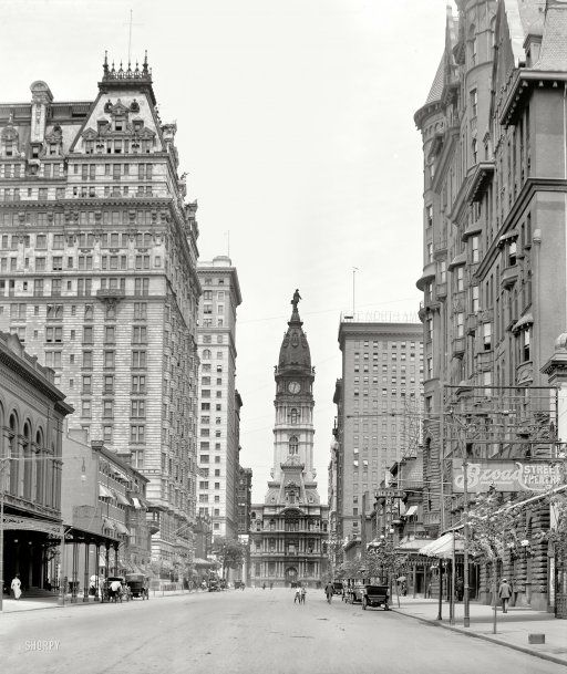 """Philadelphia circa 1909. """"Broad Street north from Walnut."""" With City Hall, William Penn and two young friends center stage"""