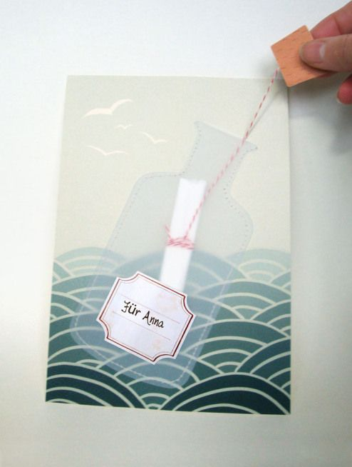 Message in a bottle card