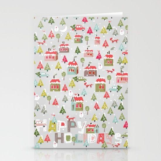Happy Holidays Pattern Stationery Cards