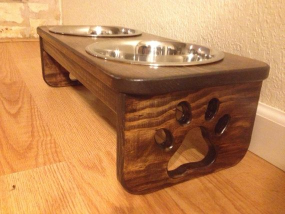 Raised Dog Bowl Holder  Two Quart Bowls  by CustomWoodworksATX, $49.00