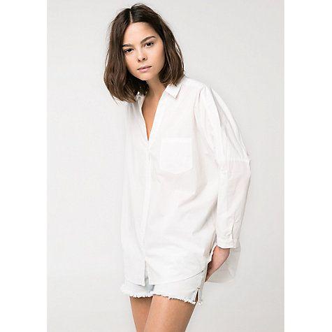 £15 Buy Mango Oversize Cotton Shirt, White Online at johnlewis.com