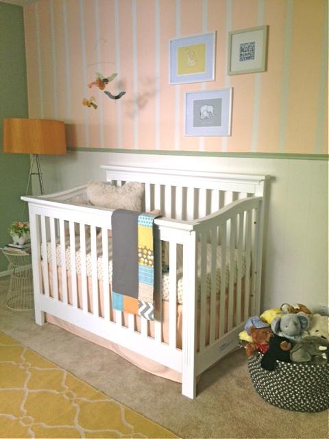 peach, aqua, gray, yellow nursery by @Irene Hoffman Lovett, stripes, pattern mix, crib, quilt