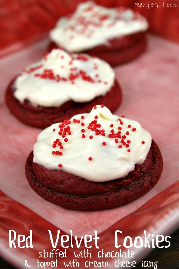 Red velvet cookies with creme cheese frosting. Forget V-Day -- I'd bake these all year.