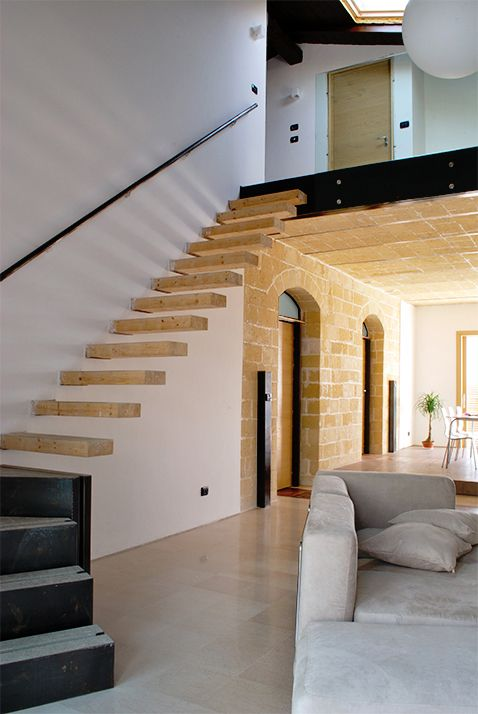Architecture. mediterranean house renovation. A project by OfficineMultiplo. #scala #staircase #sofa #mezzanine #pietra #stone