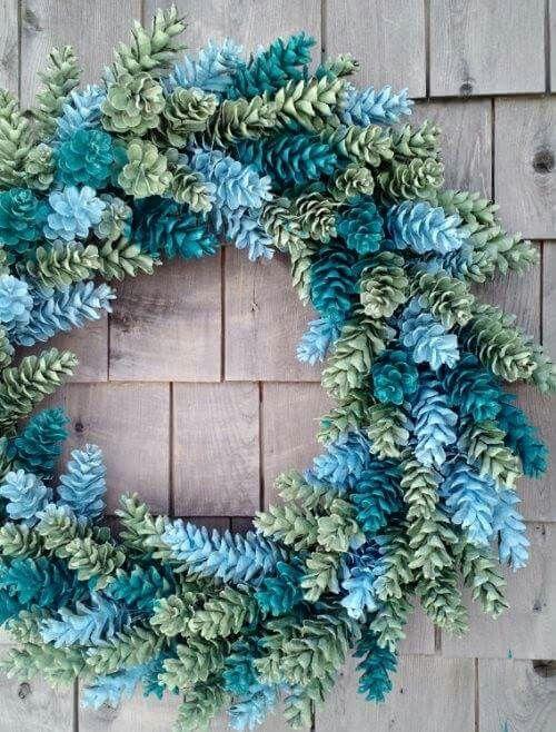 Multi-color pine cone wreath.