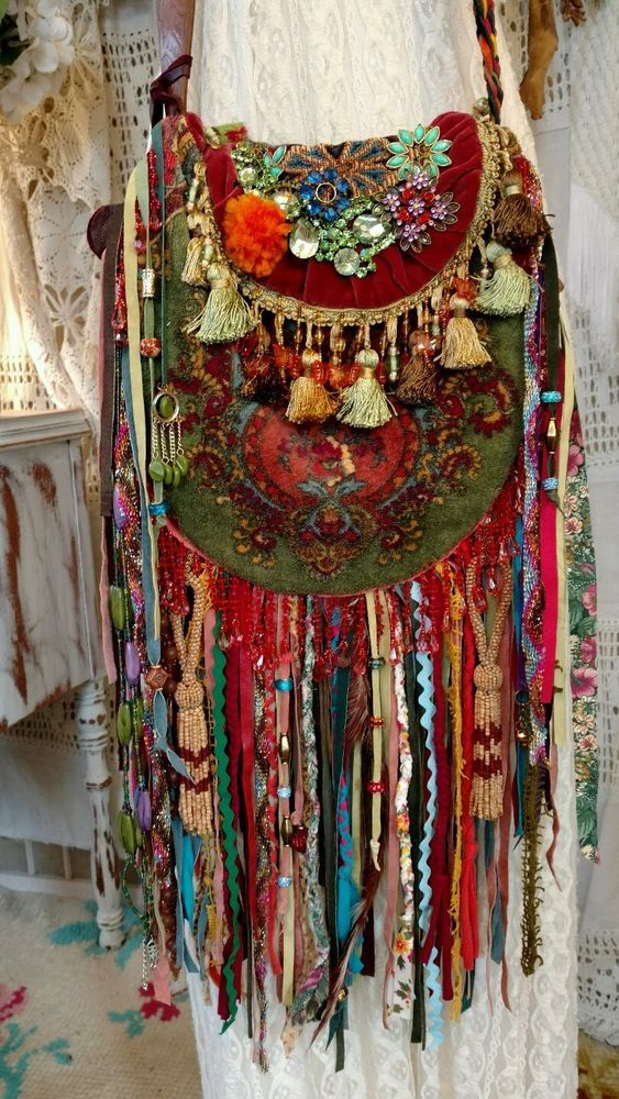 WOW! Handmade Ibiza Festival Bag Gypsy Hippie Boho Jewelry Fringe Purse tmyers #Handmade #CrossBodyANDShoulderBag