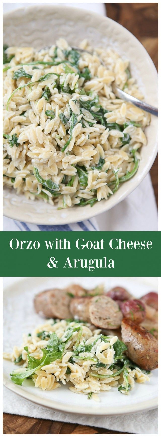 Orzo with Goat Cheese and Arugula from aggieskitchen.com - my family loves when I make this pasta side dish!