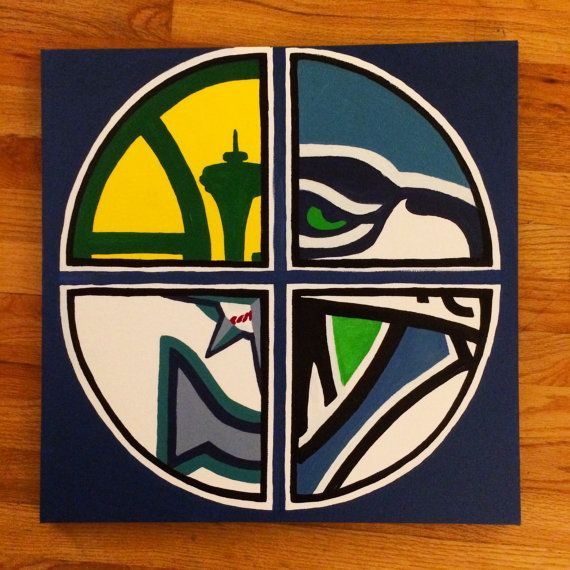 For the Seattle sports fans. Love this Sonics, Seahawks, Mariners and Sounders painting!